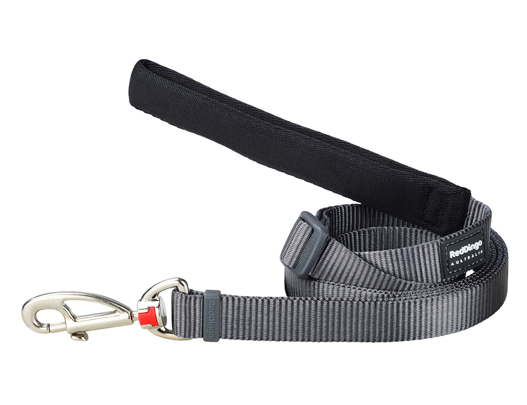 Red Dingo Plain Grey 1.8m Dog Lead