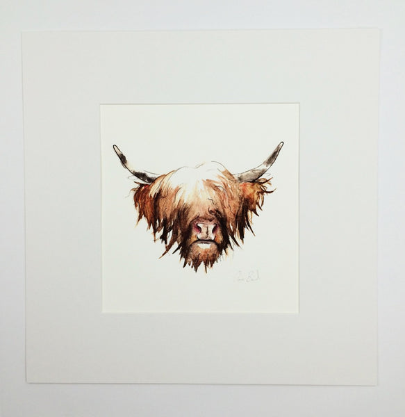 Highland Cow Hairy Coo Art Print Wall Art | Clare Baird