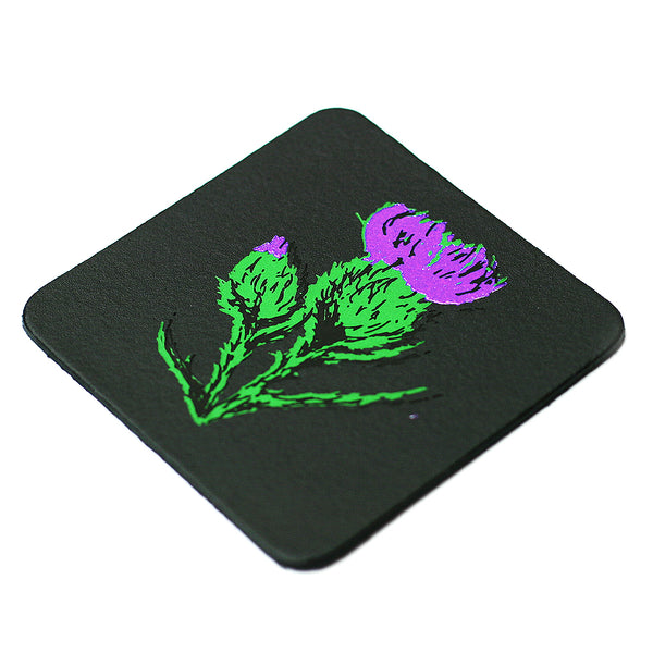 scottish thistle leather coaster gift | Clare Baird