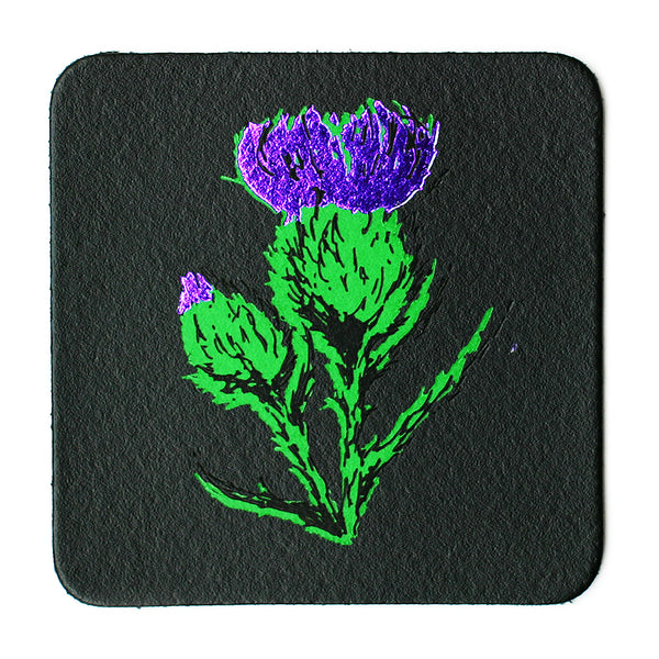 BLACK THISTLE LEATHER COASTER