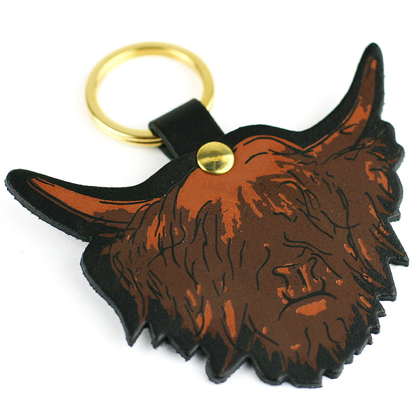 BLACK HIGHLAND COW KEY RING