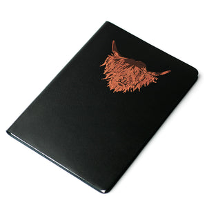 Highland Cow Hairy Coo Scottish Leather Journal Black | Artist, Clare Baird