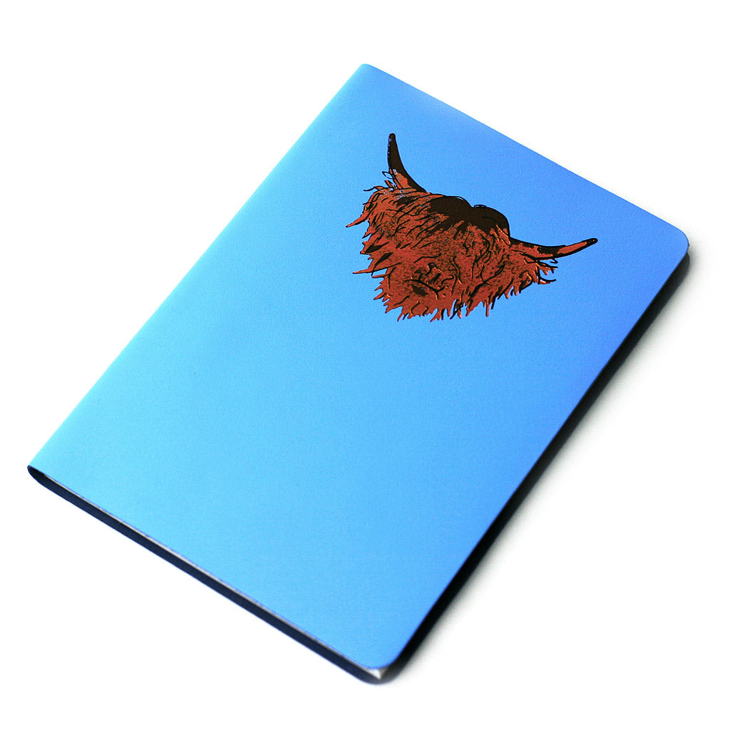 Highland Cow Hairy Coo Real Scottish Leather Journal Skye Blue Large A5 | Artist, Clare Baird