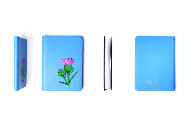 Scottish Thistle Leather Journal - Skye Blue - Small - A6