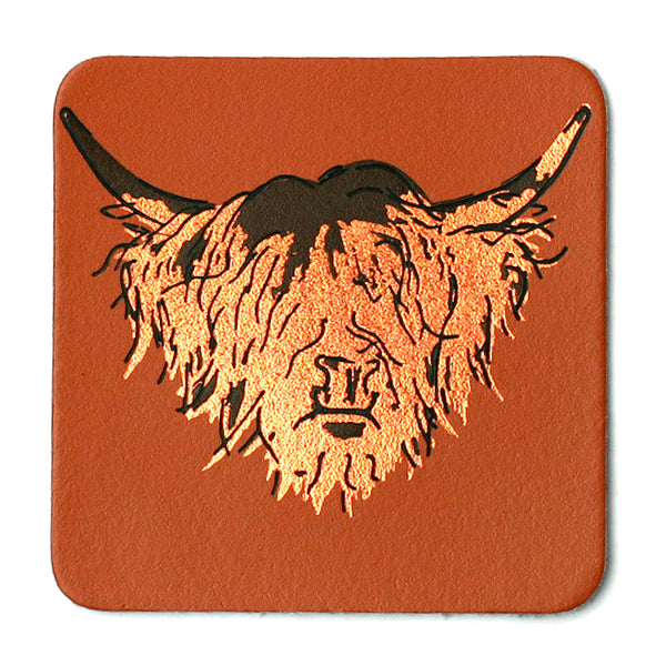 Highland Cow Tan Real Leather Coaster
