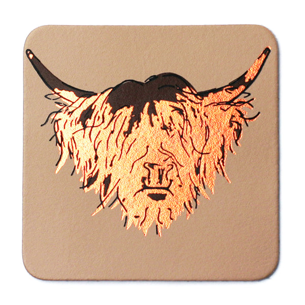 HIGHLAND COW NUDE LEATHER COASTERS