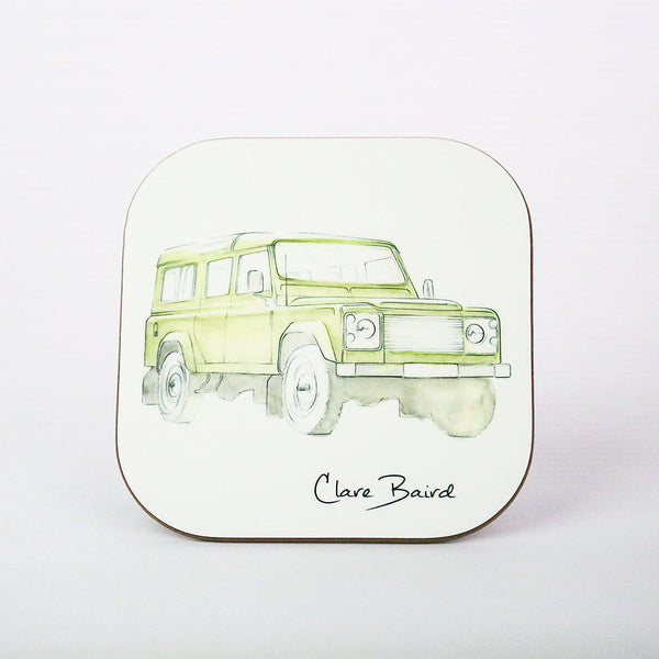 Green Land Rover Coaster Defender | Clare Baird