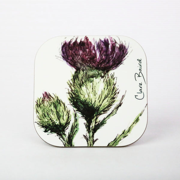 scottish thistle flower coaster gift