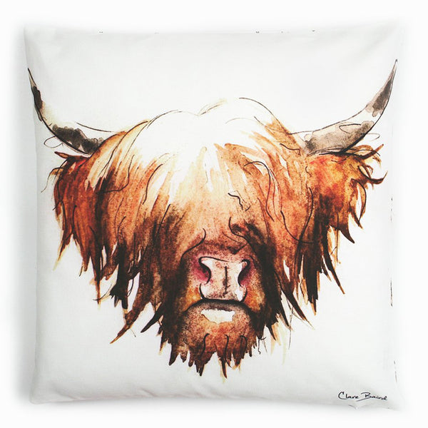 Highland Cow Hairy Coo Cotton Cushion | Clare Baird