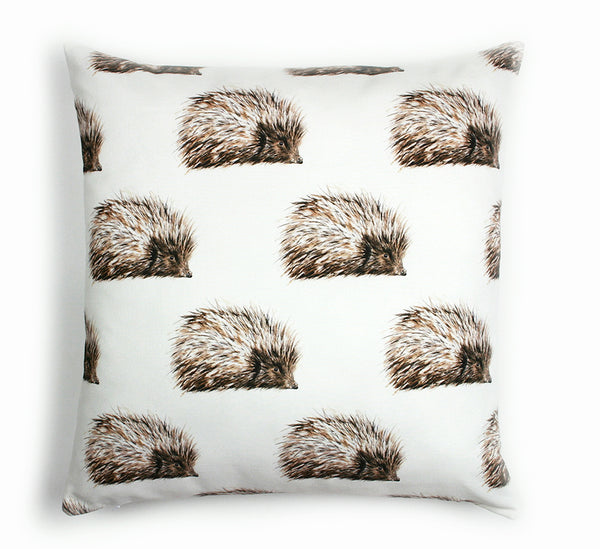 Hedgehog Cushion Patterned Wildlife Design | Clare Baird