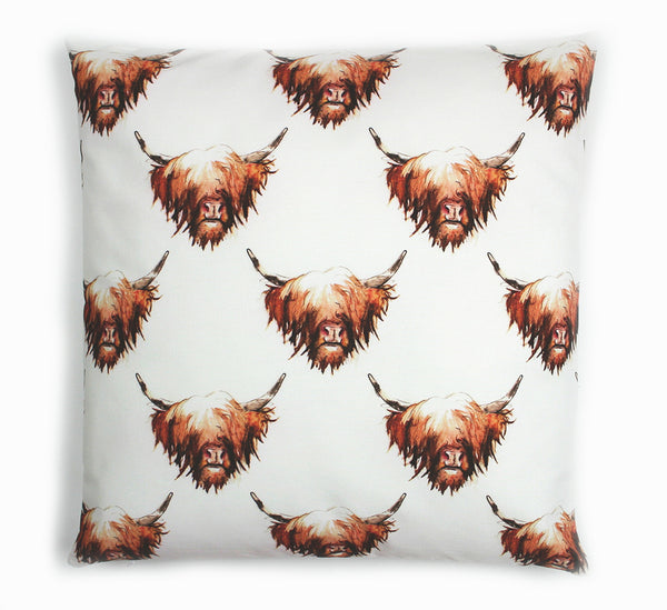 Highland Cow Hairy Coo Cotton Cushion | Artist, Clare Baird