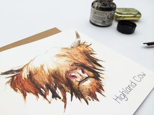 Highland Cow Hairy Coo Black Greetings Cards | Artist, Clare Baird