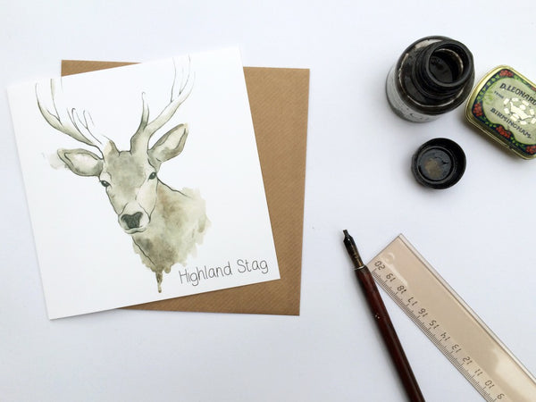 Scottish Highland Stag Greetings Card | Artist, Clare Baird