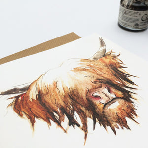 Highland Cow Hairy Coo Greetings Card | Artist, Clare Baird