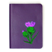 Load image into Gallery viewer, SMALL A6 PURPLE BRAE THISTLE LEATHER JOURNAL