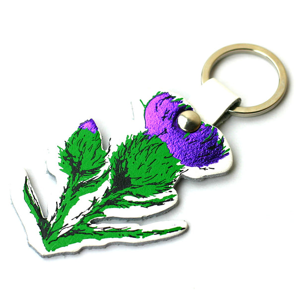 Thistle Real Leather Key Ring - White