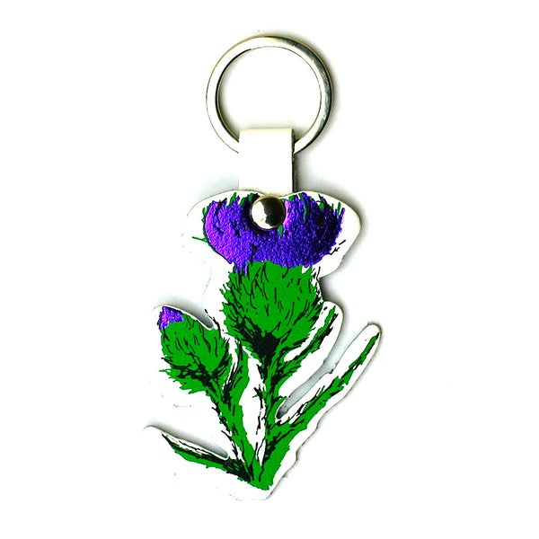 WHITE LEATHER THISTLE KEY RING