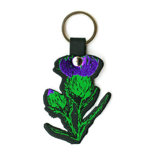BLACK LEATHER THISTLE KEY RING