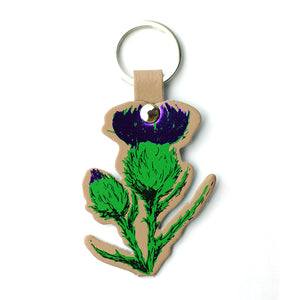 Thistle Real Leather Key Ring - Nude