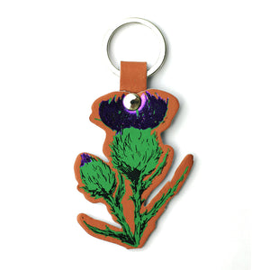TAN LEATHER THISTLE KEY RING