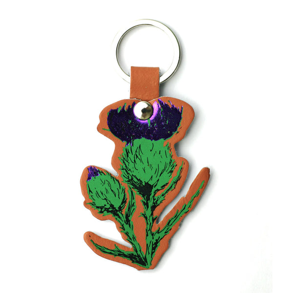 Thistle Real Leather Key Ring - Tan