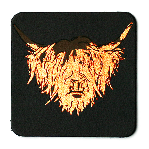 HIGHLAND COW BLACK LEATHER COASTER