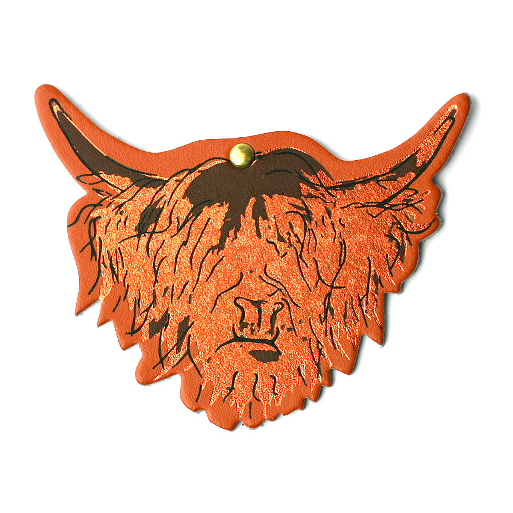 Highland Cow Hairy Coo Real Scottish Leather Fridge Magnet | Artist, Clare Baird
