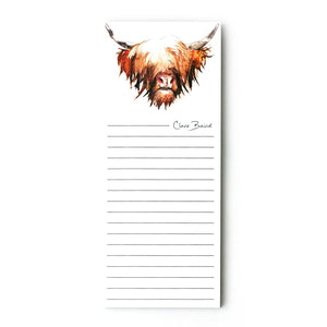 Highland Cow Hairy Coo Magnetic Notepad | Artist, Clare Baird