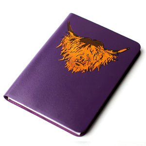 Highland Cow Hairy Coo Scottish Real Leather - Purple Brae - A6 Small