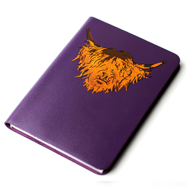 SMALL A6 PURPLE BRAE HIGHLAND COW LEATHER JOURNAL