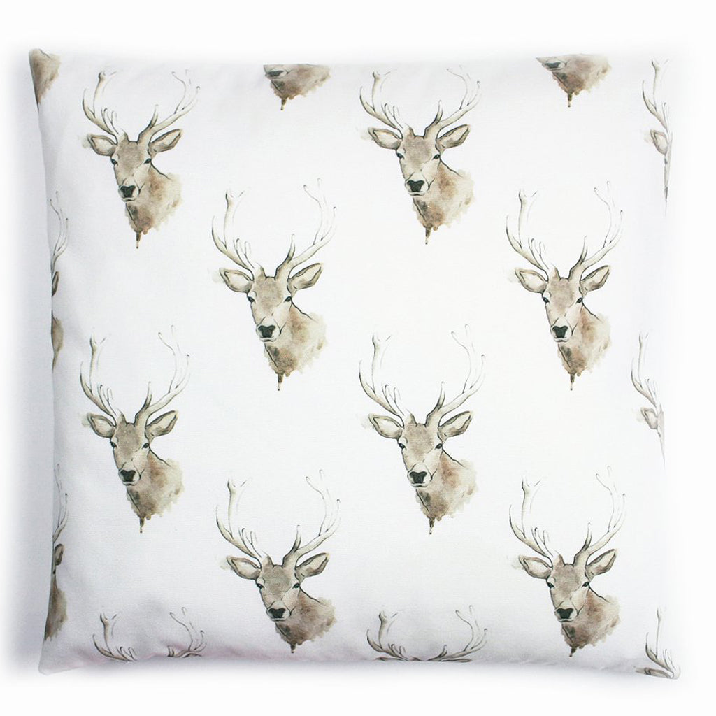 Scottish Highland Stag Cotton Cushion | Artist, Clare Baird