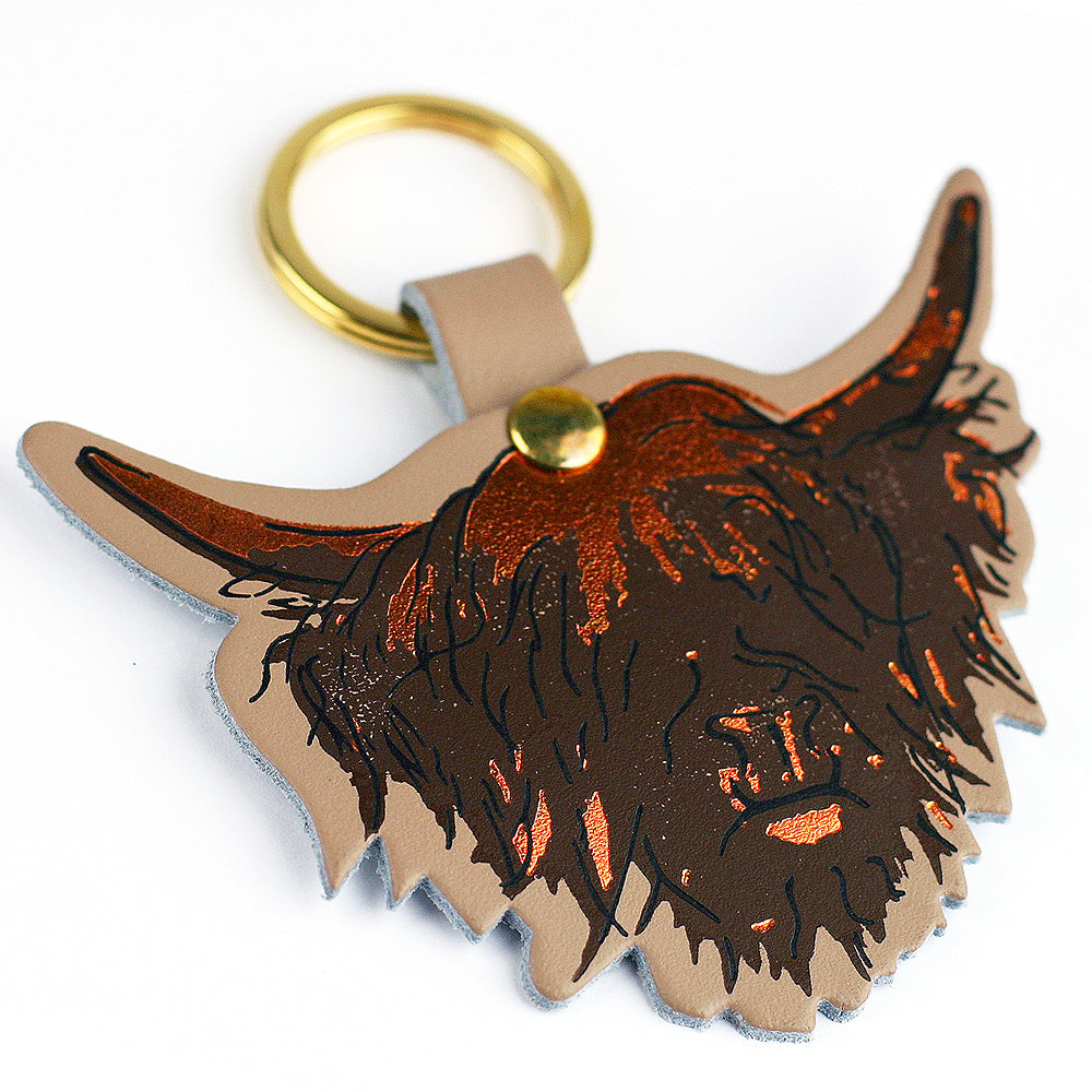 Highland Cow Hairy Coo Scottish Leather Key Ring | Artist, Clare Baird