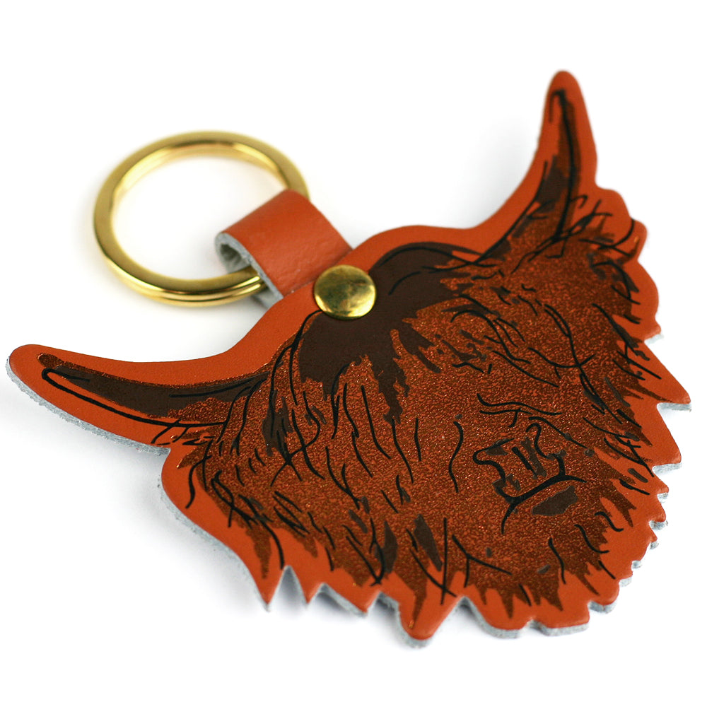 Highland Cow Hairy Coo Real Scottish Leather Key Ring | Artist, Clare Baird