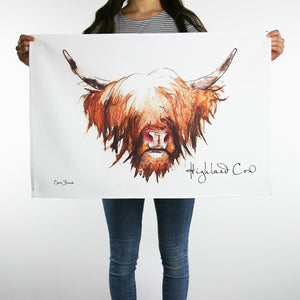 Highland Cow Hairy Coo Cotton Tea Dish Towel | Artist, Clare Baird