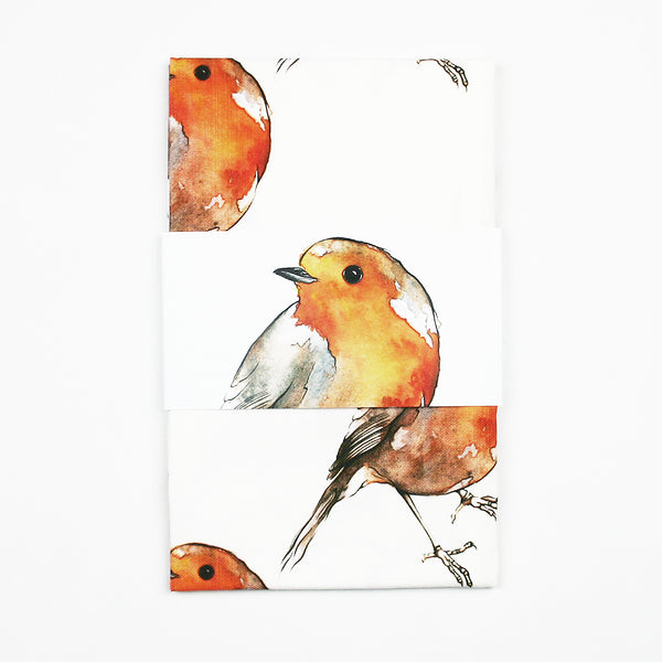Robin Patterned Tea Towel