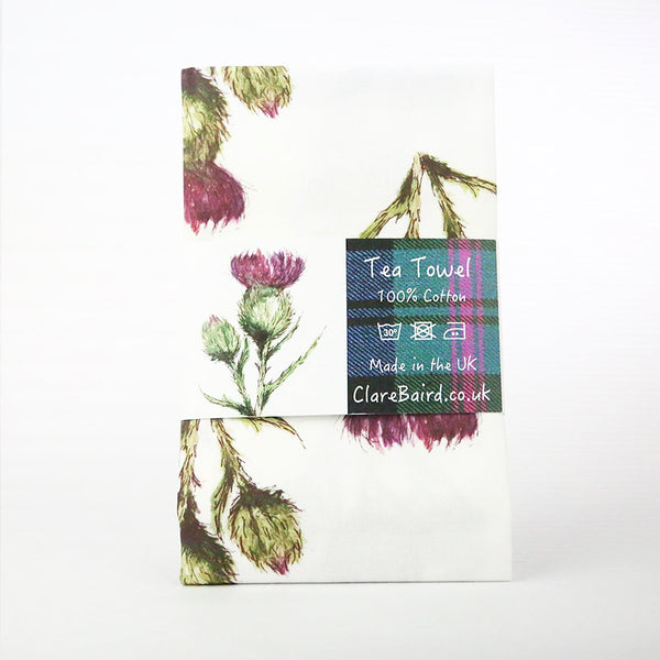 Thistle Flower of Scotland Patterned Tea Towel