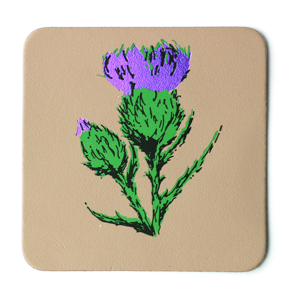 NUDE THISTLE LEATHER COASTER