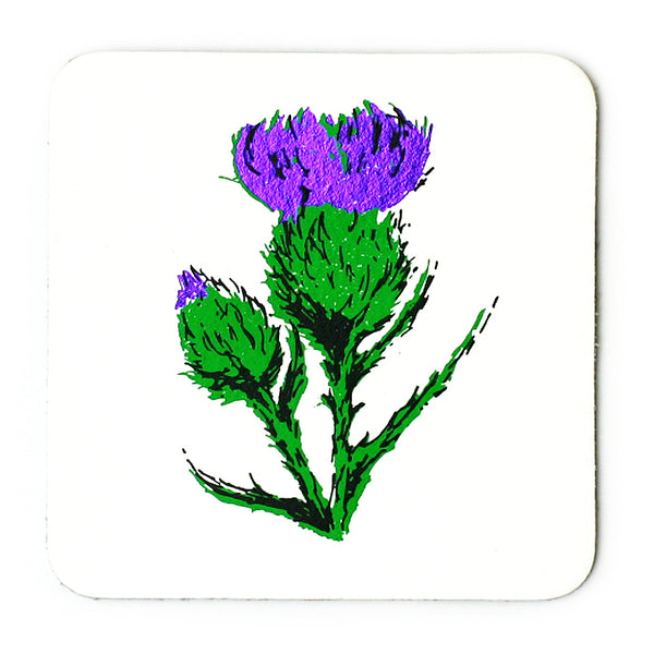 WHITE THISTLE LEATHER COASTER
