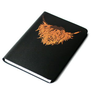 SMALL A6 BLACK ISLE HIGHLAND COW LEATHER JOURNAL