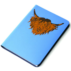 Highland Cow Hairy Coo Scottish Leather Journal  Skye Blue | Artist, Clare Baird
