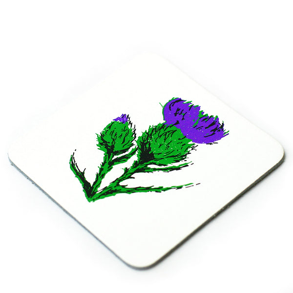 Thistle Leather Coaster - White