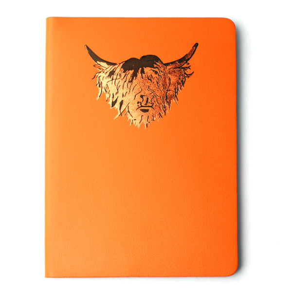 Highland Cow Leather Journal -  Orange - Irn Ochre - A5 Large | Artist, Clare Baird