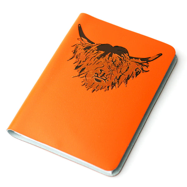 SMALL A6 IRN OCHRE HIGHLAND COW LEATHER JOURNAL