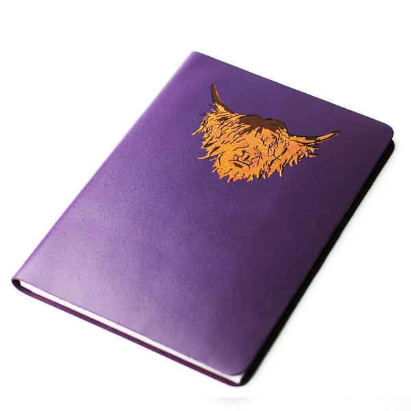 LARGE A5 PURPLE BRAE HIGHLAND COW LEATHER JOURNAL