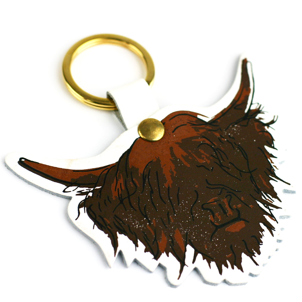 Highland Cow Hairy Coo Scottish Leather Key Ring White | Artist, Clare Baird