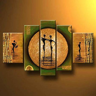 5 Piece Abstract Oil Paintings on Canvas Dance on a Golden Moon