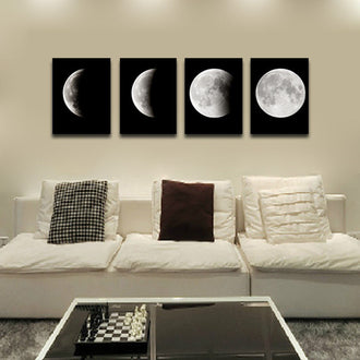 4PCS Modern Abstract The Moon Painting Art Print Canvas Home Wall Decor Framed