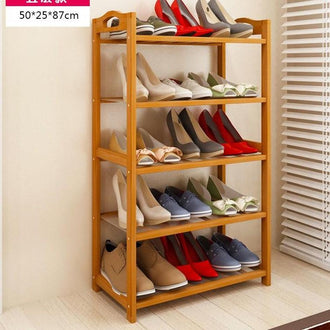 5 Tier Solid Wood Shoe Cabinet Nan Bamboo Shoe Racks