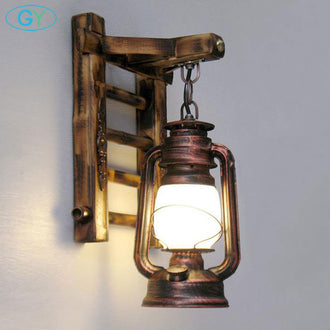 Bamboo Ladder Wall lamps Vintage barn lantern Rustic Wall