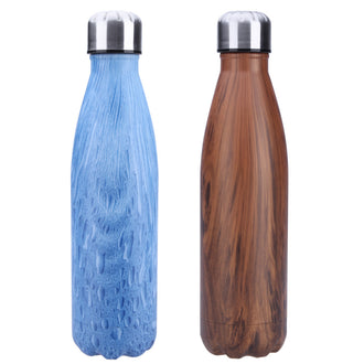 New 500ML Wood Grain Travel Mug Tea Coffee Vacuum Cup Stainless Steel Thermos